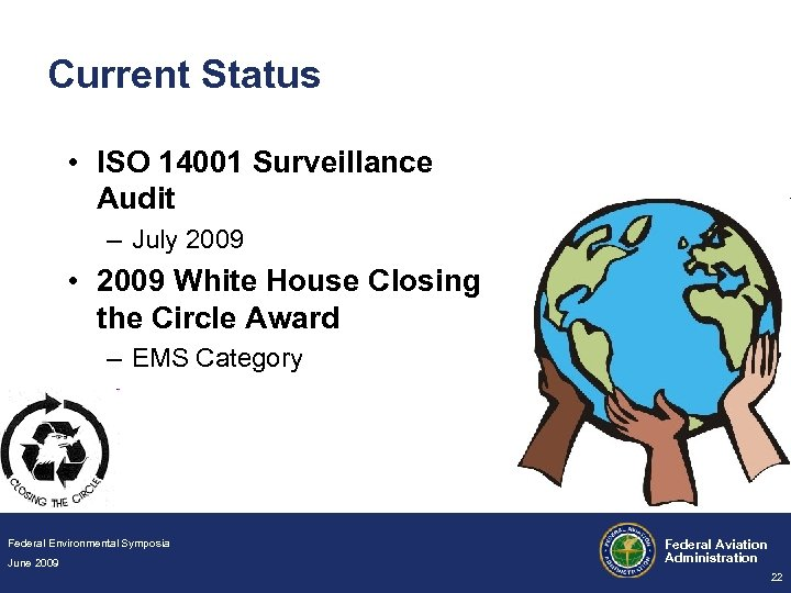 Current Status • ISO 14001 Surveillance Audit – July 2009 • 2009 White House