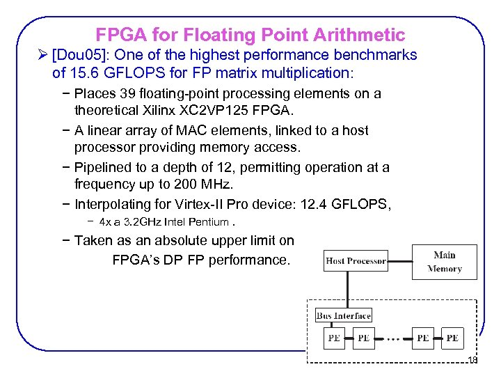 FPGA for Floating Point Arithmetic Ø [Dou 05]: One of the highest performance benchmarks