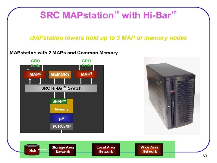 SRC MAPstation™ with Hi-Bar™ MAPstation towers hold up to 3 MAP or memory nodes