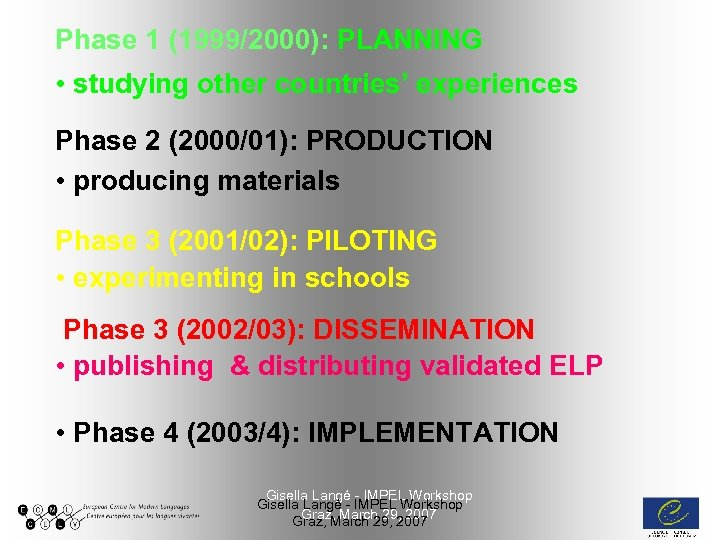 Phase 1 (1999/2000): PLANNING • studying other countries' experiences Phase 2 (2000/01): PRODUCTION •