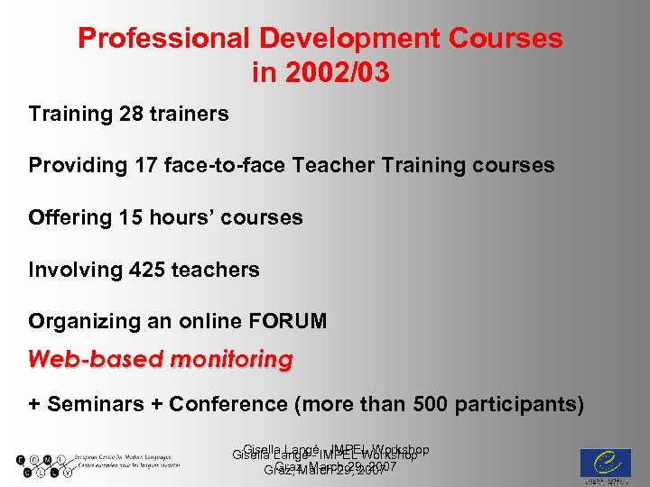 Professional Development Courses in 2002/03 Training 28 trainers Providing 17 face-to-face Teacher Training courses