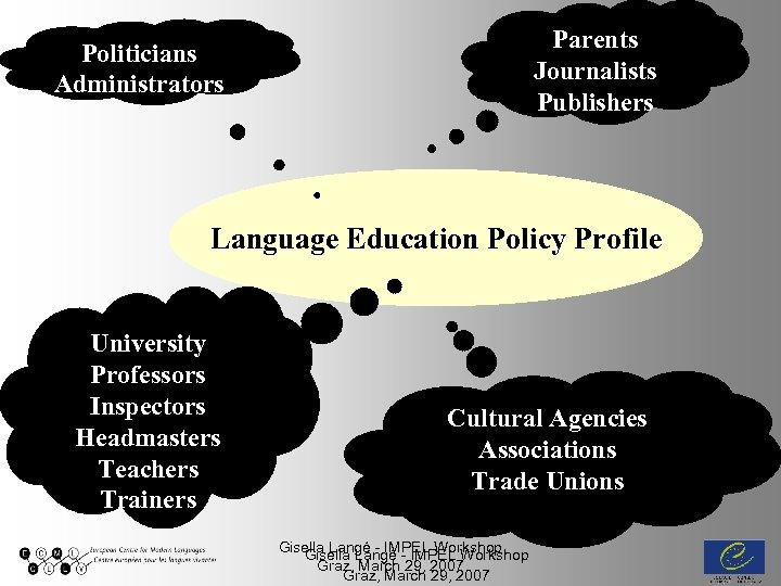 Parents Journalists Publishers Politicians Administrators Language Education Policy Profile University Professors Inspectors Headmasters Teachers