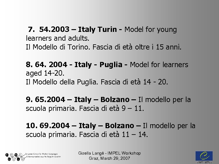 7. 54. 2003 – Italy Turin - Model for young learners and adults. Il