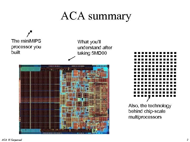 ACA summary The mini. MIPS processor you built What you'll understand after taking 5