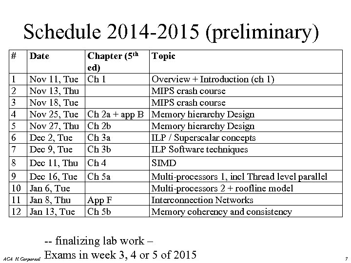 Schedule 2014 -2015 (preliminary) # Date Chapter (5 th ed) 1 Nov 11, Tue