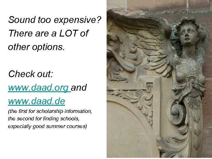 Sound too expensive? There a LOT of other options. Check out: www. daad. org