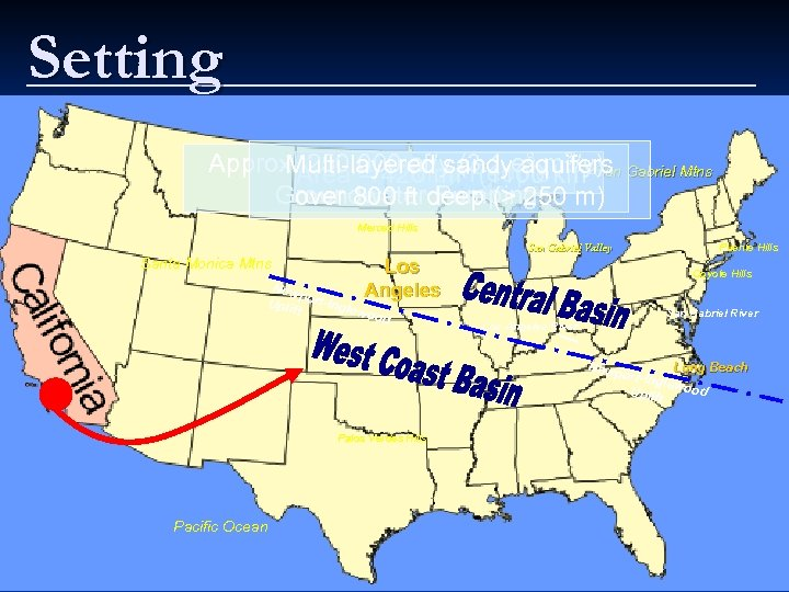 Setting Approx. Area = 420 mi(3. 1 eaquifers Gabriel Mtns 250, 000 af/y 2