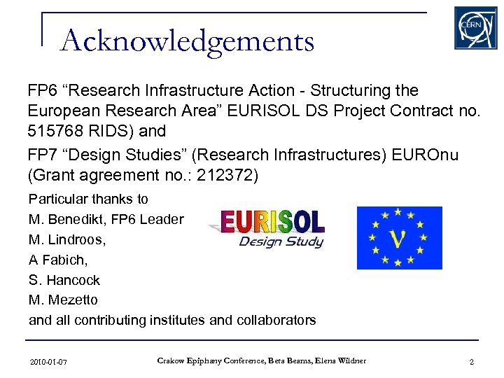 "Acknowledgements FP 6 ""Research Infrastructure Action - Structuring the European Research Area"" EURISOL DS"
