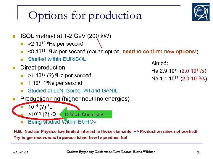 Options for production n ISOL method at 1 -2 Ge. V (200 k. W)
