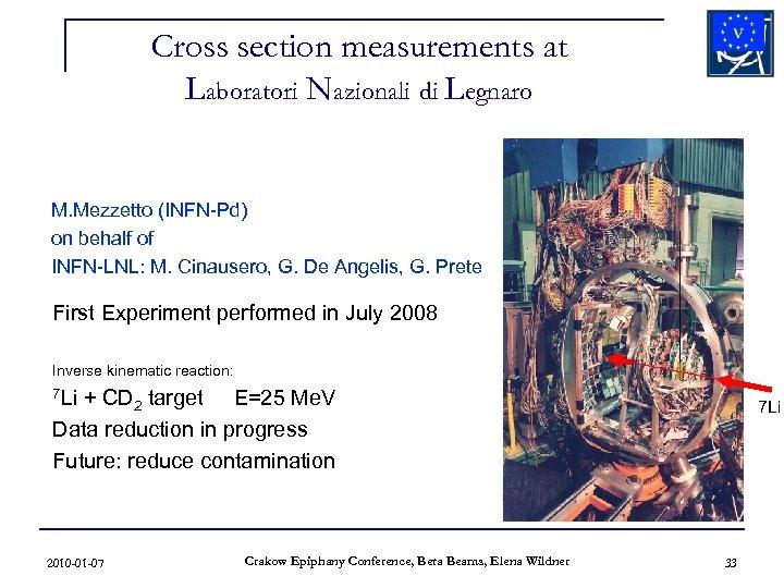 Cross section measurements at Laboratori Nazionali di Legnaro M. Mezzetto (INFN-Pd) on behalf of