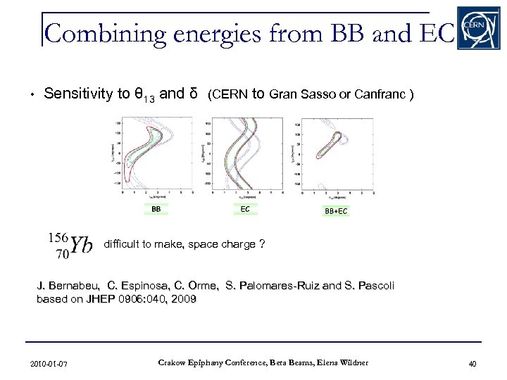 Combining energies from BB and EC • Sensitivity to θ 13 and δ (CERN