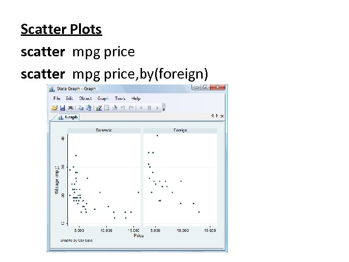 Scatter Plots scatter mpg price, by(foreign)