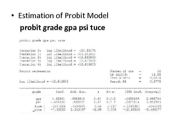 • Estimation of Probit Model probit grade gpa psi tuce