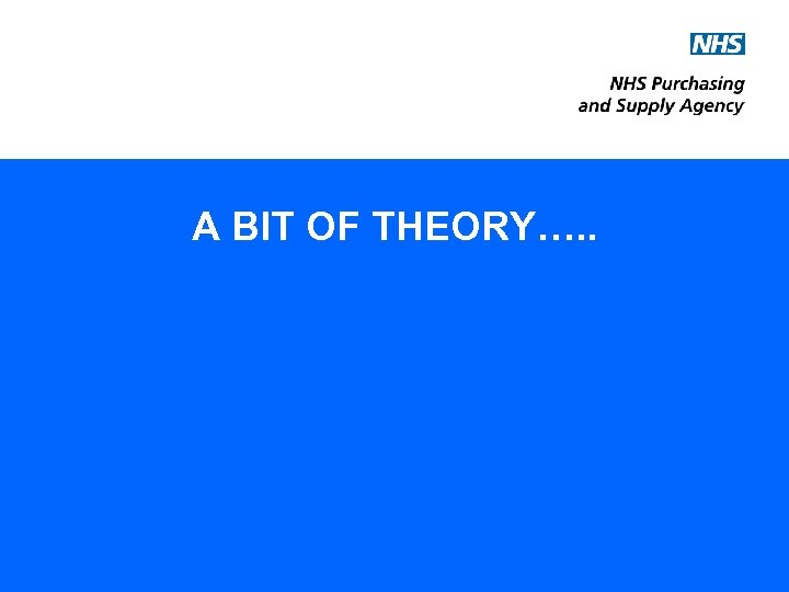 A BIT OF THEORY…. .