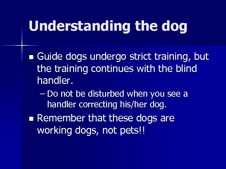 Understanding the dog n Guide dogs undergo strict training, but the training continues with
