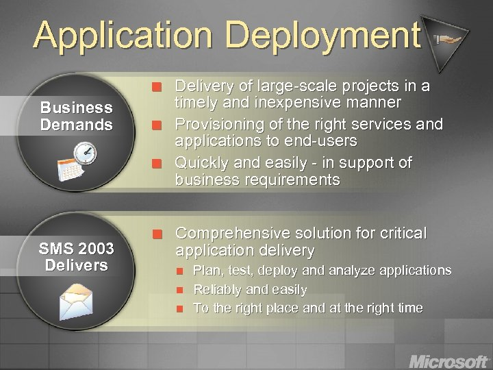 Application Deployment ¢ Business Demands ¢ ¢ SMS 2003 Delivers ¢ Delivery of large-scale