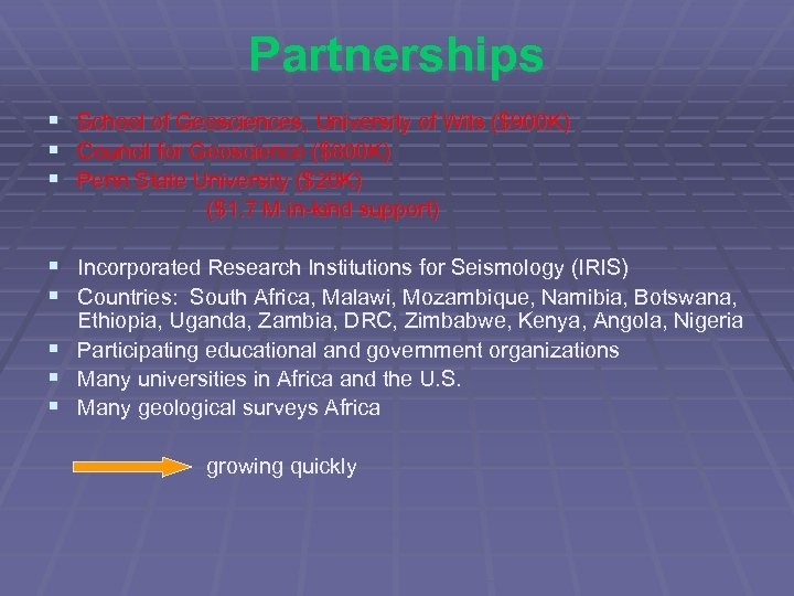 Partnerships § § § School of Geosciences, University of Wits ($900 K) Council for