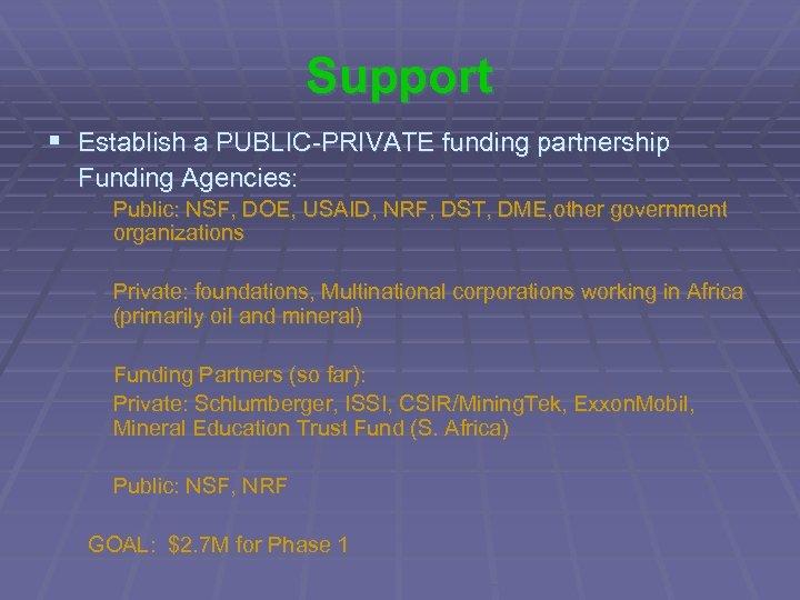 Support § Establish a PUBLIC-PRIVATE funding partnership Funding Agencies: Public: NSF, DOE, USAID, NRF,