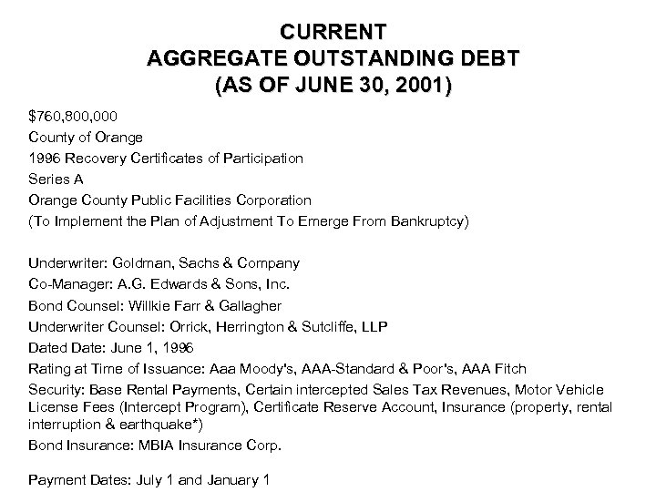 CURRENT AGGREGATE OUTSTANDING DEBT (AS OF JUNE 30, 2001) $760, 800, 000 County of
