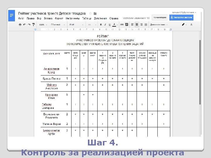 Шаг 4. Контроль за реализацией проекта