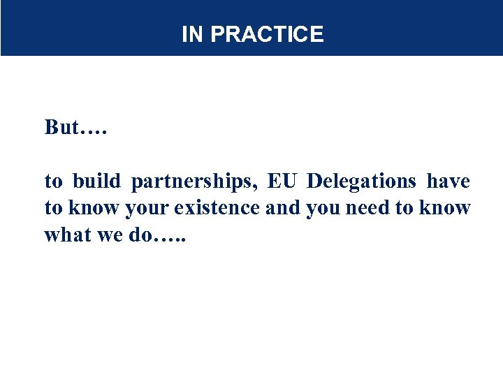 IN PRACTICE But…. to build partnerships, EU Delegations have to know your existence and