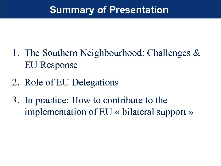 Summary of Presentation 1. The Southern Neighbourhood: Challenges & EU Response 2. Role of