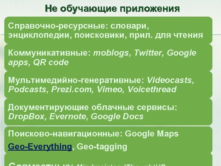 Не обучающие приложения Справочно-ресурсные: словари, энциклопедии, поисковики, прил. для чтения Коммуникативные: moblogs, Twitter, Google