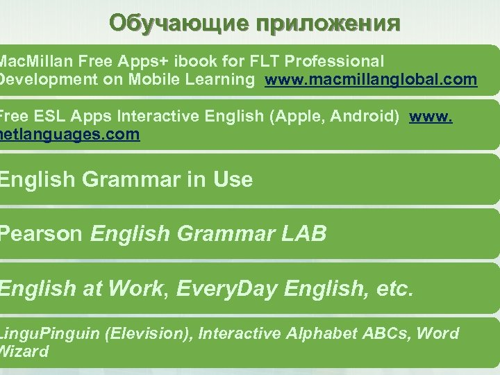 Обучающие приложения Mac. Millan Free Apps+ ibook for FLT Professional Development on Mobile Learning