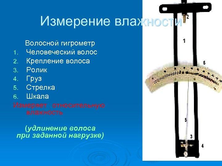 Измерение влажности Волосной гигрометр 1. Человеческий волос 2. Крепление волоса 3. Ролик 4. Груз