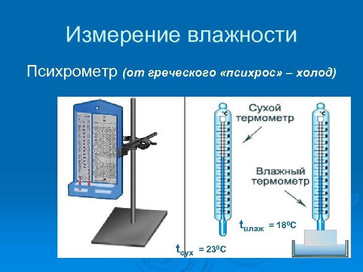 Измерение влажности Психрометр (от греческого «психрос» – холод) tвлаж = 180 С tсух =
