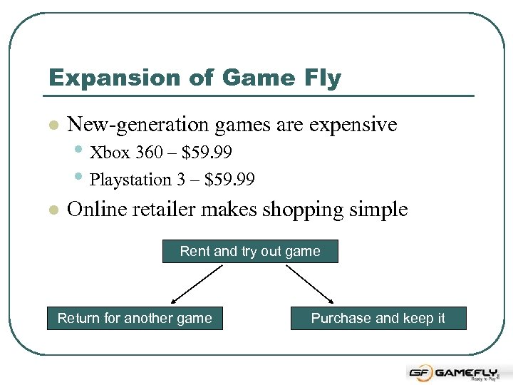 Expansion of Game Fly l New-generation games are expensive l Online retailer makes shopping
