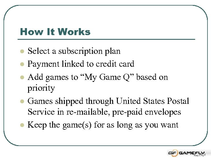 How It Works l l l Select a subscription plan Payment linked to credit