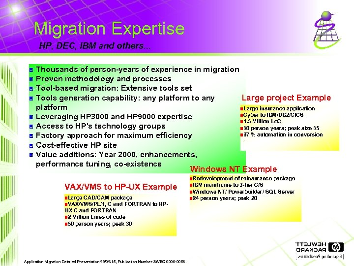 Migration Expertise HP, DEC, IBM and others. . . 3 3 3 3 3