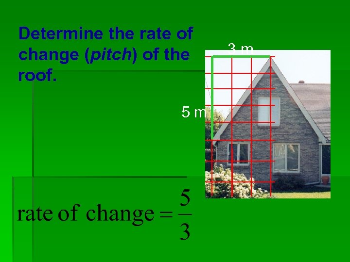 Determine the rate of change (pitch) of the roof. 5 m 3 m