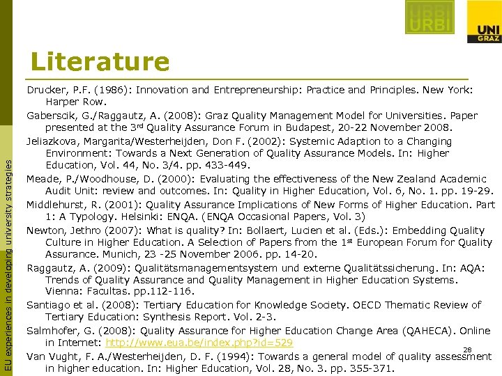 EU experiences in developing university strategies Literature Drucker, P. F. (1986): Innovation and Entrepreneurship: