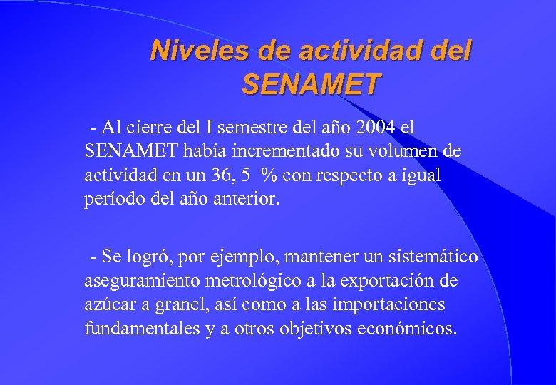 Niveles de actividad del SENAMET - Al cierre del I semestre del año 2004
