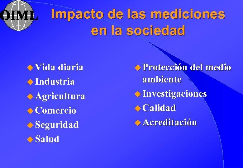 Impacto de las mediciones en la sociedad u Vida diaria u Industria u Agricultura