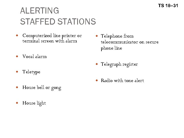 TS 18– 31 ALERTING STAFFED STATIONS Computerized line printer or terminal screen with alarm
