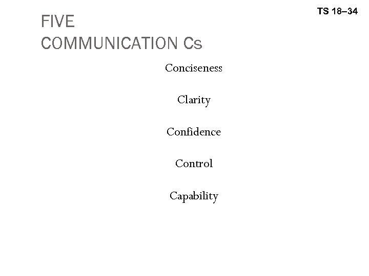 FIVE COMMUNICATION Cs Conciseness Clarity Confidence Control Capability TS 18– 34