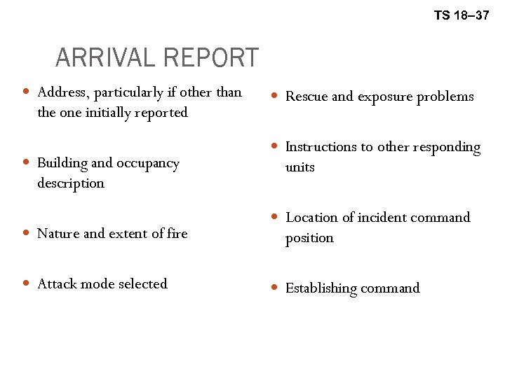 TS 18– 37 ARRIVAL REPORT Address, particularly if other than the one initially reported
