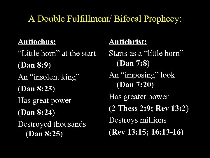 "A Double Fulfillment/ Bifocal Prophecy: Antiochus: ""Little horn"" at the start (Dan 8: 9)"