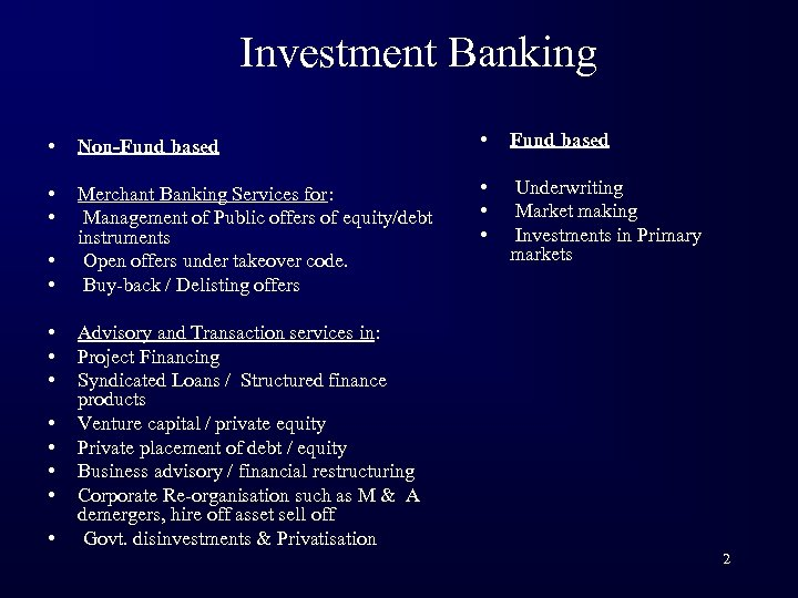 Investment Banking • Non-Fund based • • Merchant Banking Services for: Management of Public