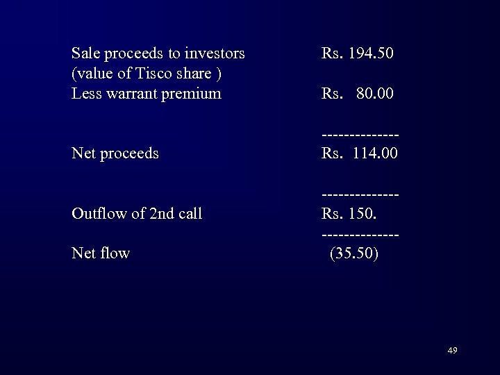 Sale proceeds to investors (value of Tisco share ) Less warrant premium Net proceeds