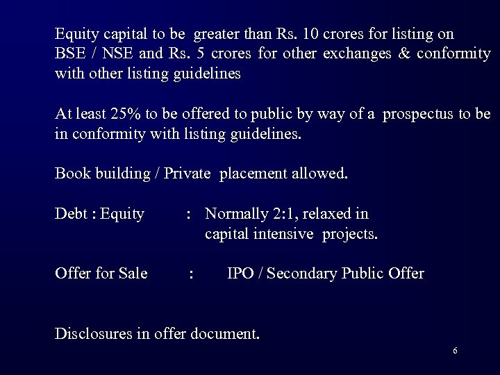 Equity capital to be greater than Rs. 10 crores for listing on BSE /