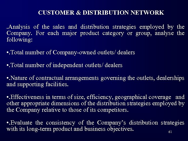 CUSTOMER & DISTRIBUTION NETWORK. Analysis of the sales and distribution strategies employed by the