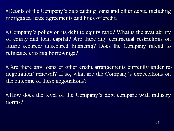 • Details of the Company's outstanding loans and other debts, including mortgages, lease