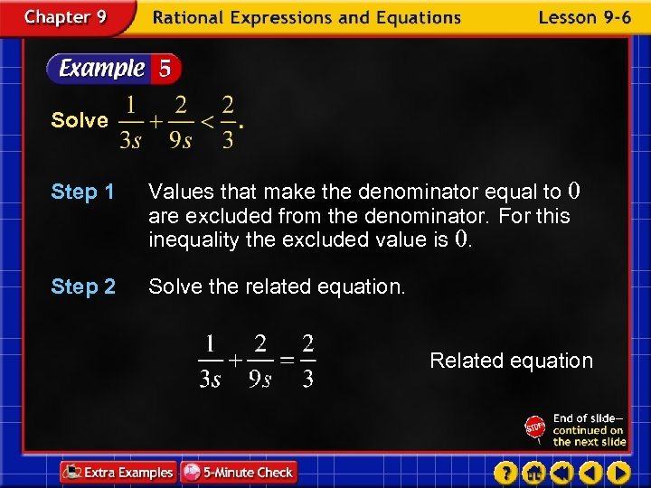 Solve Step 1 Values that make the denominator equal to 0 are excluded from