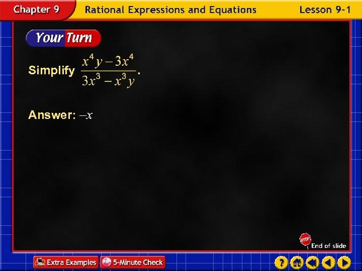 Simplify Answer: –x