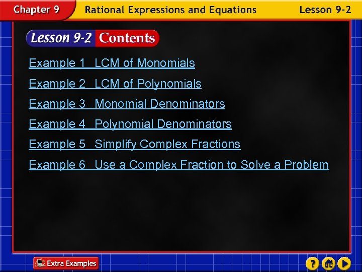 Example 1 LCM of Monomials Example 2 LCM of Polynomials Example 3 Monomial Denominators