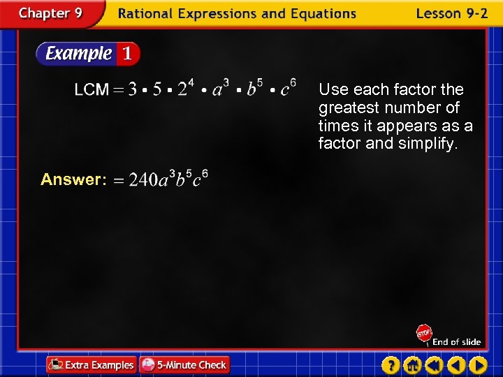 Use each factor the greatest number of times it appears as a factor and